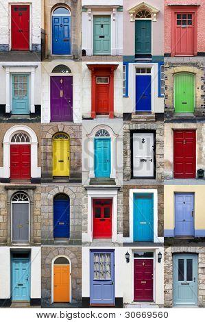 Un collage de 25 puertas coloridas para casas y viviendas