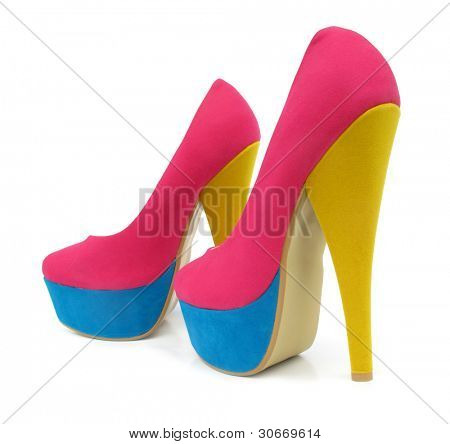 Pink, blue and yellow colorful high heels pump shoes