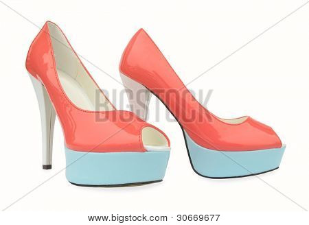 Pink blue white high heels open toe pump shoes