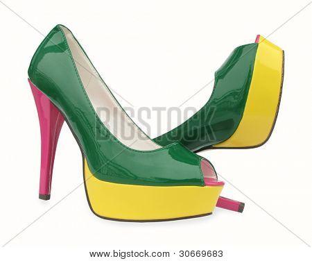 Green yellow pink high heels open toe pump shoes