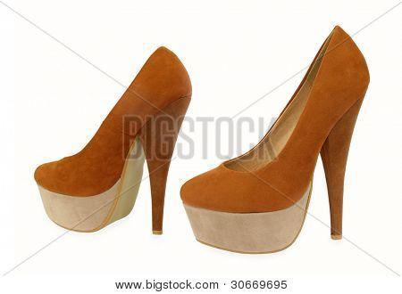 Brown and beige high heels pump shoes