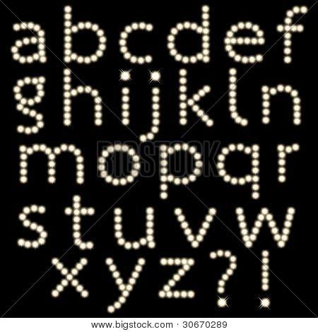 Satz von Glühbirne Buchstaben isoliert