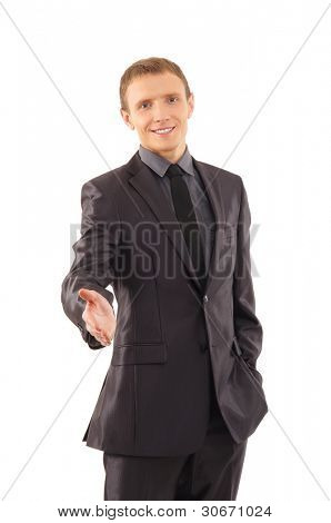 Business man is preparing for the handshake isolated on white