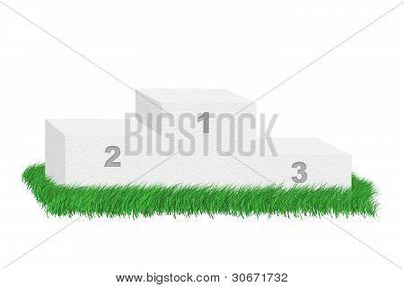 Empty Podium Among Grass.
