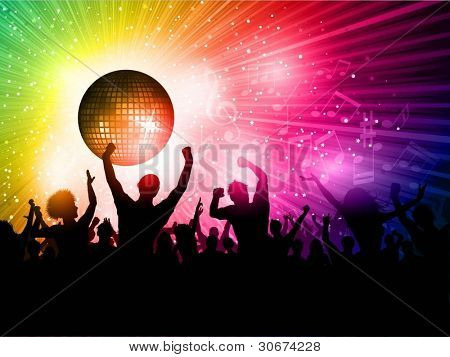 Silhouette of an excited crowd on a mirror ball background