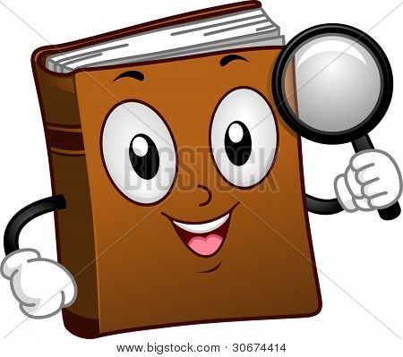 Illustration of a Book Mascot Holding a Magnifying Glass