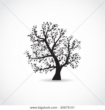Vector illustration of beautiful spring tree in white and black colors