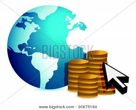Global finance concept illustration design over white background