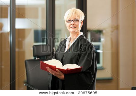 Female lawyer with German civil law code - only torso to be seen, close-up
