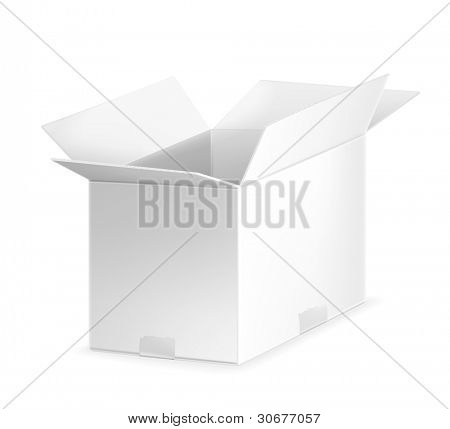 White open carton box, vector