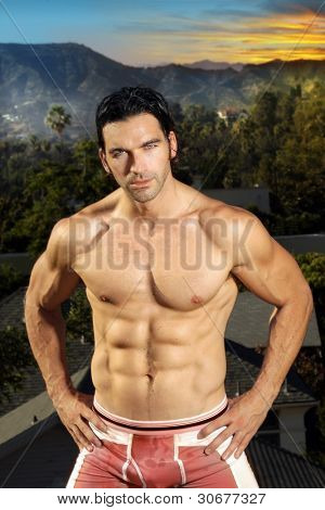Very fit male muscular model with exotic background and sunset