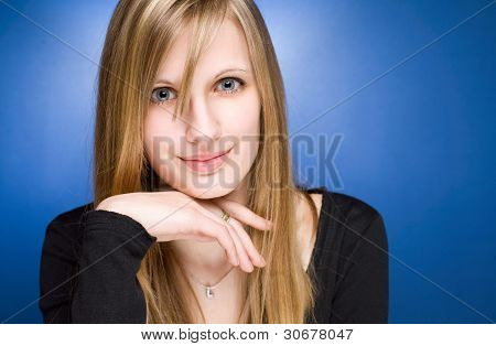 Graceful Friendly Young Blond Woman.