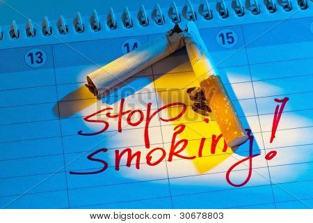 giving up smoking. good resolution in the calendar to be non smoking.