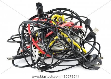 Big chaotic knot of mixed cables on white