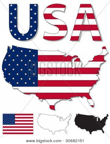 Outline map of USA filled with USA flag