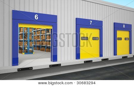 fine 3d image of warehouse exterior