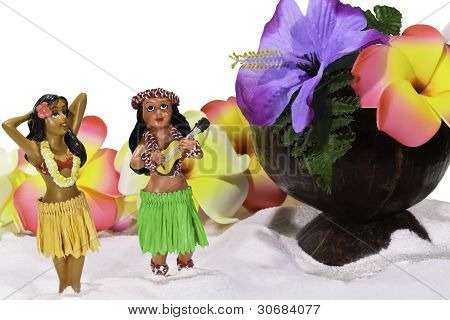 Tiny Hula Girls With Flowers And Coconut Cup