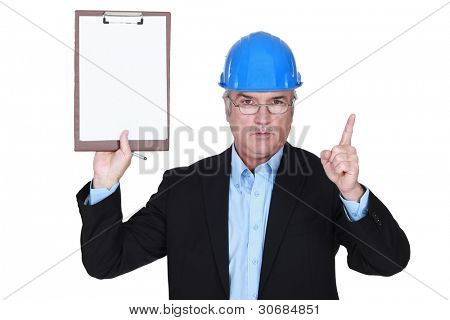 Safety inspector with clipboard