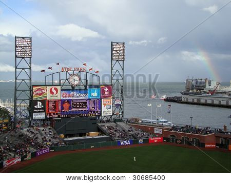 Braves Kenshin Kawakami On The Scoreboard With Rainbow Visible In Distance