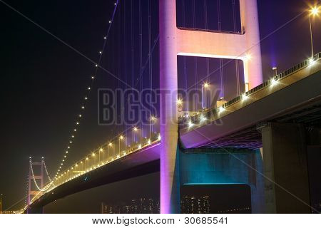 night scene of Tsing Ma bridge