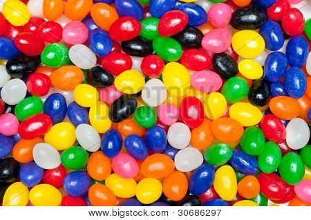 A pile of colorful candy Easter jellybeans