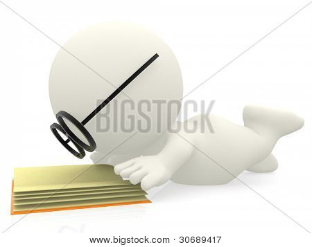 3D cartoon nerd reading a book - isolated over white background