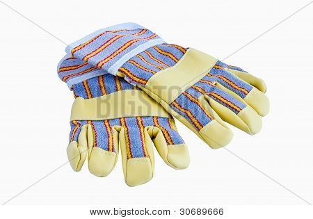 a pair of work gloves with protection leather pads