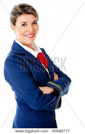 Confident stewardess smiling - isolated over a white background