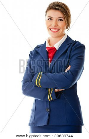 Beautiful air hostess with arms crossed - isolated over a white background