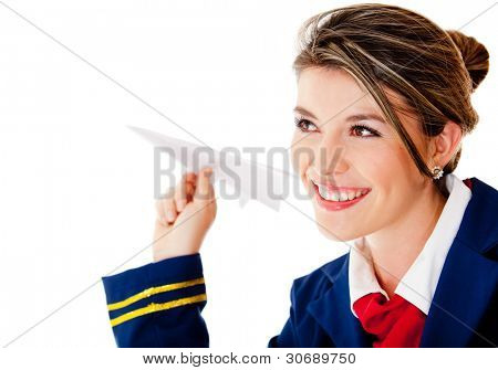 Air hostess with a paper airplane - isolated over a white background