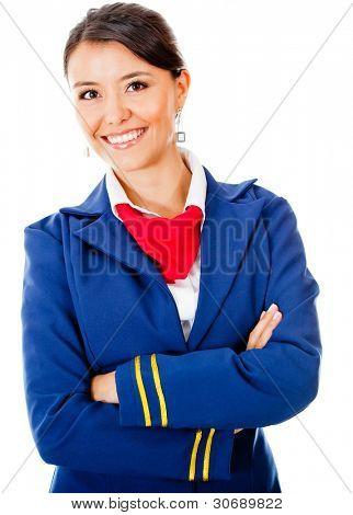 Beautiful stewardess smiling - isolated over a white background