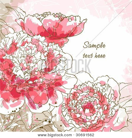 Romantic vector background with peony