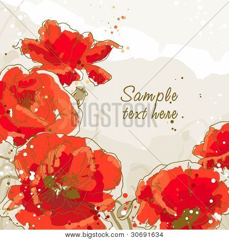 Background with 5 flower of poppy