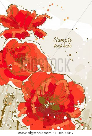Background with 3 flower of poppy