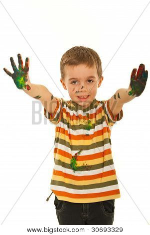 Messy Little Boy Showing Palms