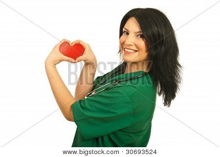 Happy Health Worker With Heart Shape