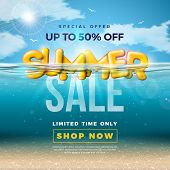 Summer Sale Design With 3d Typography Letter In Underwater Blue Ocean Background. Vector Special Off poster