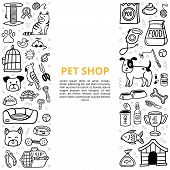 Black And White Goods For A Pet Shop In Doodle Style. Vet Symbol Collection With Text. Vector Illust poster