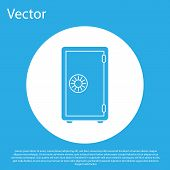 Blue Safe Icon Isolated On Blue Background. The Door Safe A Bank Vault With A Combination Lock. Reli poster