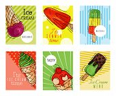 Ice Cream Cards Summer Natural Fresh And Cold Sweet Food Vector Illustration. Healthy Homemade Tasty poster