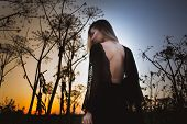 Beautiful Witch With Open Back At Sunset Stands In Tall Grass poster
