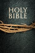 image of humility  - holy bible and crown of thorns close - JPG