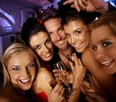 image of hen party  - Young attractive people having party fun - JPG