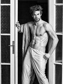 Bachelor Sexy Body Chest And Belly. Guy Shimmering Sweaty Skin Wear Bathrobe. Man Athlete With Fit S poster