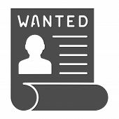 Wanted Bandit Solid Icon. Wanted Placard Vector Illustration Isolated On White. Reward For Criminal  poster