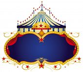 Circus sign. A circus frame with a big top and a large blue copy space for your message.