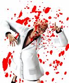 image of festering  - Zombie nurse that is covered in blood - JPG