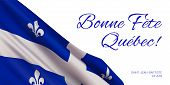 Quebec National Day Vector Banner Design Template With Flag Of Quebec Province And Text On White Bac poster