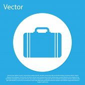 Blue Suitcase For Travel Icon Isolated On Blue Background. Traveling Baggage Sign. Travel Luggage Ic poster
