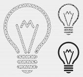 Mesh Electric Bulb Model With Triangle Mosaic Icon. Wire Frame Polygonal Mesh Of Electric Bulb. Vect poster
